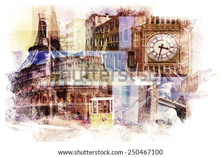 multiple exposures of different european landmarks such as the Big Ben in London, the Eiffel Tower in Paris, the Coliseum in Rome, a canal in Venice or a tramcar in Lisbon - stock photo