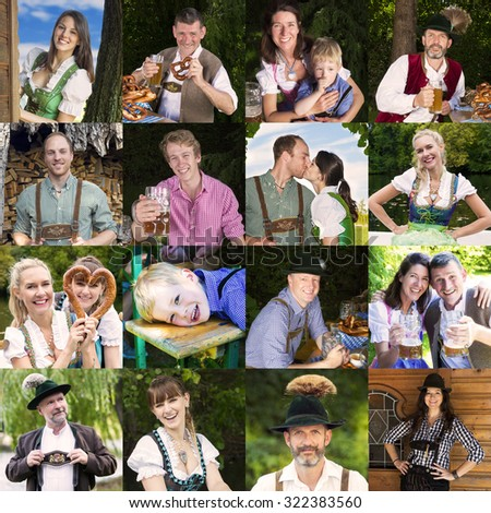 multiple faces of people in traditional bavarian clothes - stock photo