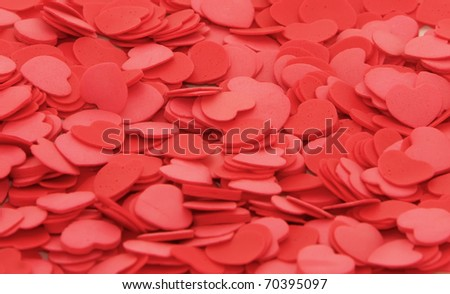 Multiple hearts on a white background.
