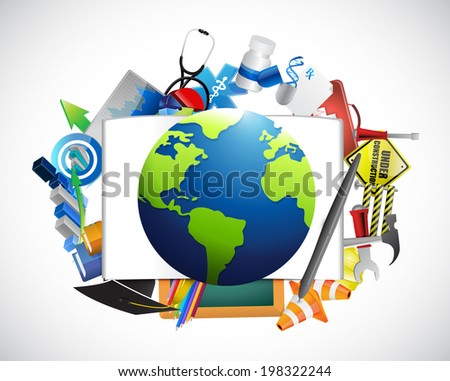 multiple icons around a globe. illustration design over a white background