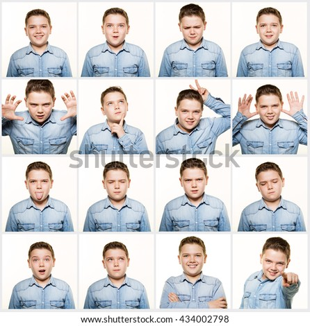 Multiple image facial expressions. - stock photo