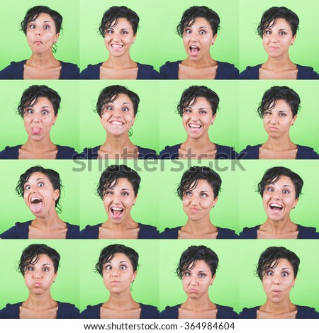 Multiple image of a beautiful young woman with short hair on a green background. Various expressions and emotions, positive and negative.