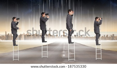 Multiple image of businessman on ladder against cityscape on the horizon