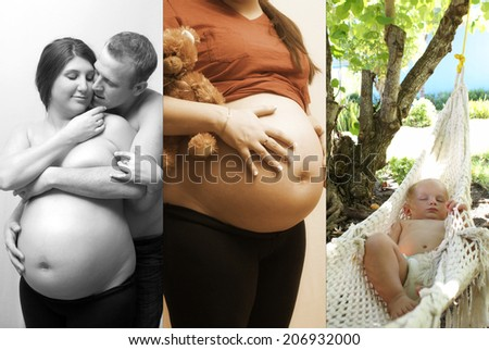 Multiple images showing a couple starting a family. - stock photo