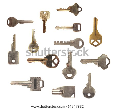 multiple kinds of keys isolated on white background - stock photo