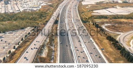 Multiple lane Highway - Freeway aerial view - stock photo