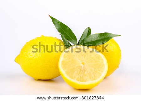 multiple lemon with fresh and delicious color isolated in white
