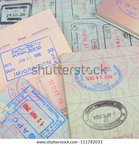 Multiple passports and passport stamps