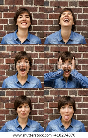 Multiple portrait of a same woman with diferente expresisons - stock photo