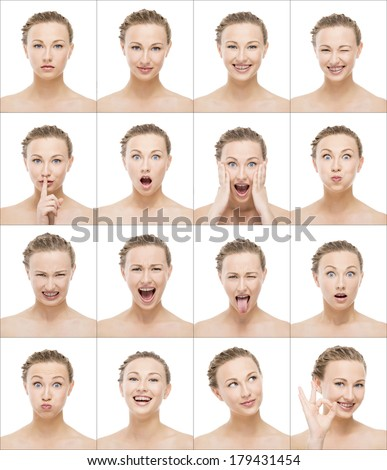 Multiple portrait of the same beautiful woman making different expressions - stock photo