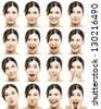 Multiple portraits of a beautiful asian women with different expressions - stock photo