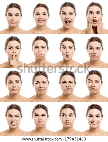 Multiple portraits of a beautiful latin women with different expressions - stock photo