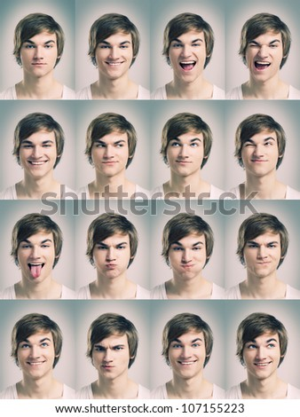 Multiple portraits of a young man doing grimaces