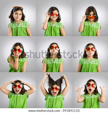Multiple portraits of the same little girl making diferent and funny faces - stock photo