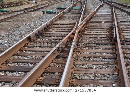Multiple railway track switches                                - stock photo