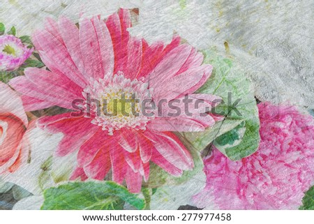 multiple rose flower decoration with wood crack texture background - stock photo