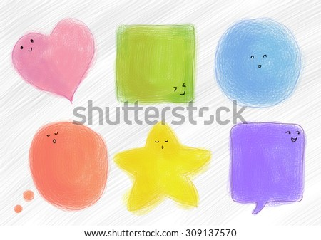 multiple shapes and colorful talking bubble with emotion faces. Dialog, thinking box, speech, conversation, icon set background template - stock photo