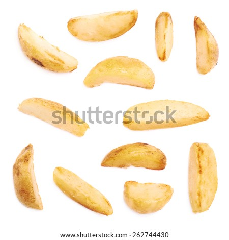 Multiple single oven baked fries chips isolated over the white background - stock photo