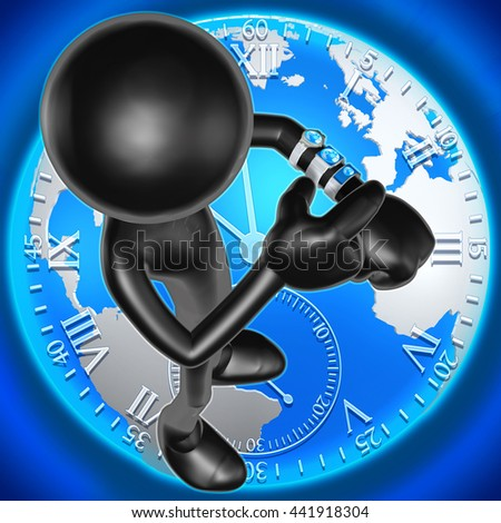 Multiple Smart Watches Showing Different Times 3D Illustration - stock photo