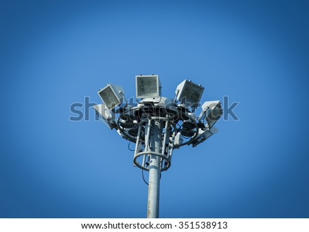 multiple sport light with blue background