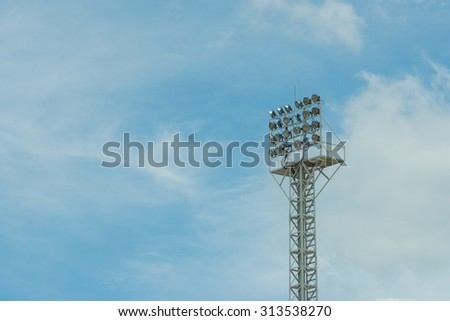 multiple sport light with sky background