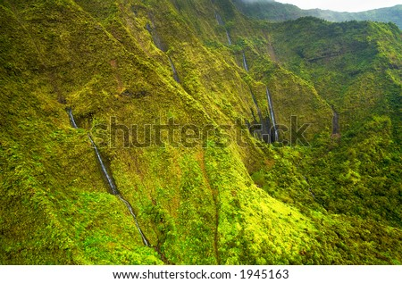 Multiple stage waterfalls on Kauai Hawaii. More with keyword Series001A