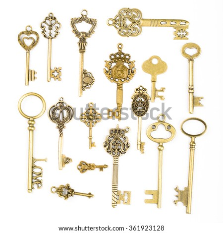 Multiple vintage key with isolated with white background.