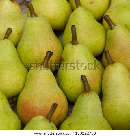 Multiple william pear closeup whole - stock photo