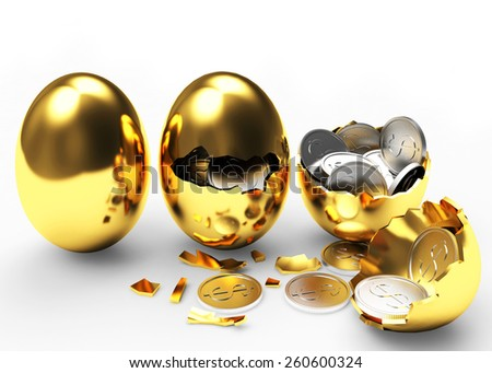 Multiplying money concept. Silver coins hatching from golden eggs process isolated on a white background - stock photo