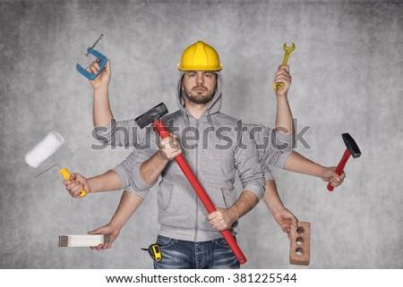 multipurpose man - stock photo