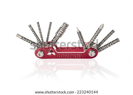 Multipurpose tool with marketing concepts as keys isolated on a white background - stock photo