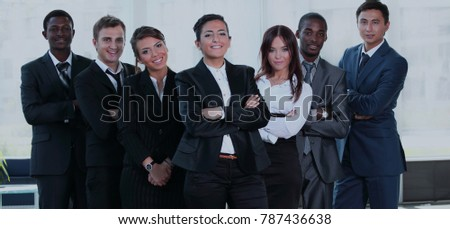 Multiracial business team people group smiling at camera.
