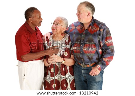 Multiracial friends on pure white background - stock photo