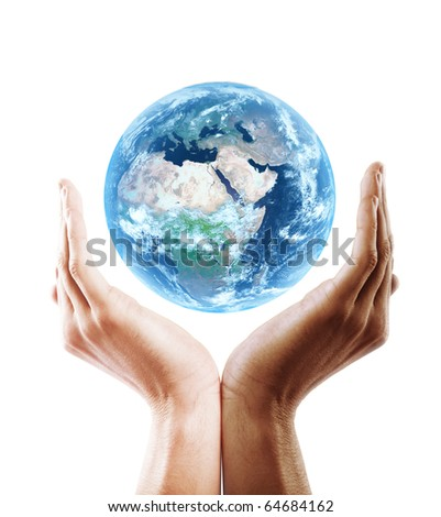 multiracial hand holding earth - stock photo