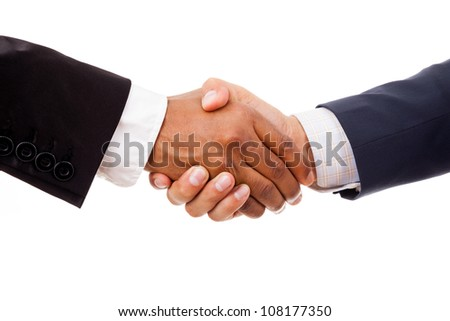 Multiracial handshake between african and a caucasian business man, isolated on white - stock photo