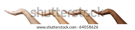 multiracial human hands. Isolated on white background. - stock photo