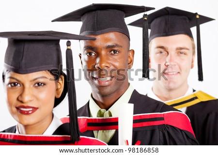 multiracial university students graduation - stock photo