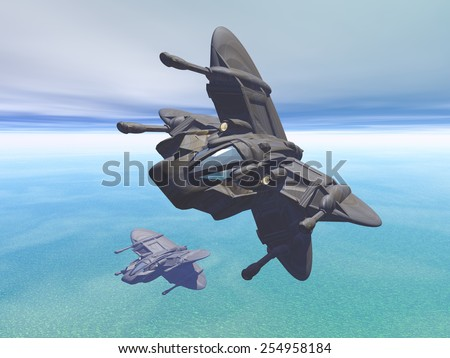 Multirole orbital spacecraft for air/subspace superiority and surface to space attack. Original creation by the author. - stock photo