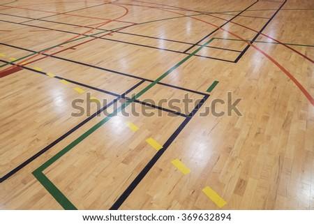 Multisport floor in old gymhall - stock photo