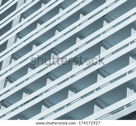 Multistage building fragment, outdoor shot, day light