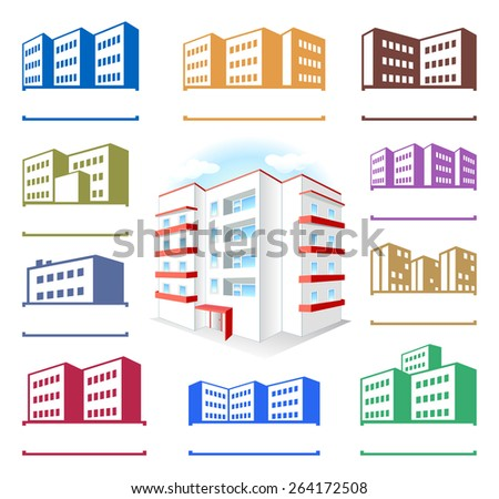 Multistoried building site icons logo set on white background - stock photo