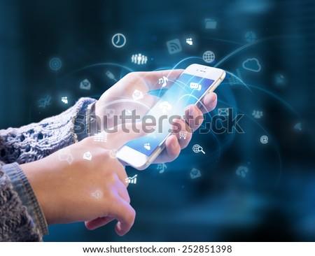 multitasking in hands - stock photo