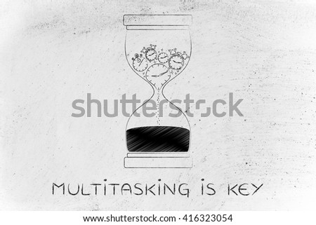 multitasking is key: hourglass with clocks stopwatches and alarms melting to sand, concept of time passing by and living life to the fullest - stock photo