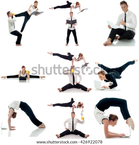 Multitasking. Set of acrobats doing yoga in studio - stock photo