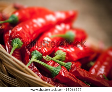 multitude of red chili peppers, closeup view - stock photo