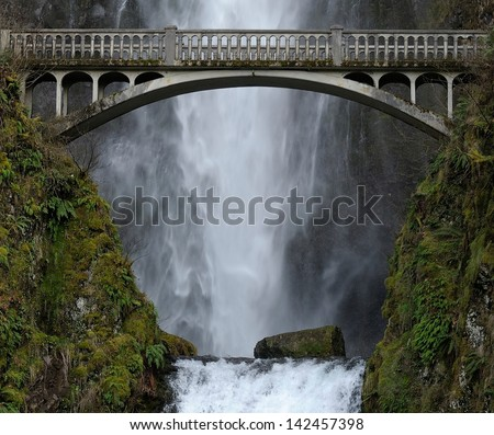 Multnomah Falls Bridge - stock photo