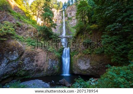 Multnomah Falls cascading - stock photo