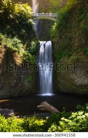 multnomah falls in Portland, Oregon USA - stock photo
