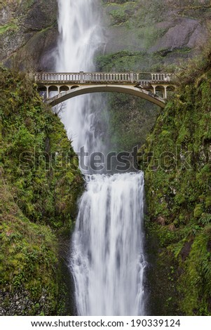 Multnomah Falls in the columbia gorge in Oregon, shot at spring time. - stock photo