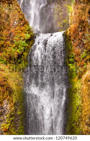 Multnomah Falls Waterfall Autumn, Fall Columbia River Gorge, Oregon, Pacific Northwest - stock photo